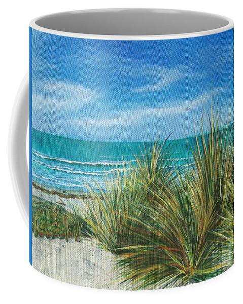 Sea Grass Coffee Mug featuring the painting Surf Beach by Angie Hamlin