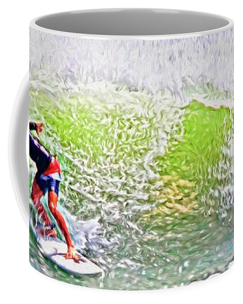 Alicegipsonphotographs Coffee Mug featuring the photograph Surfer Green by Alice Gipson