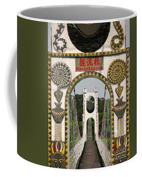 Suspension-bridge Coffee Mug featuring the photograph Suspension Bridge With Tribal Decorations by Yali Shi