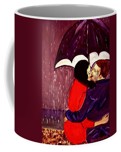 Lovers Coffee Mug featuring the painting Talking In Tongues by Rusty Gladdish