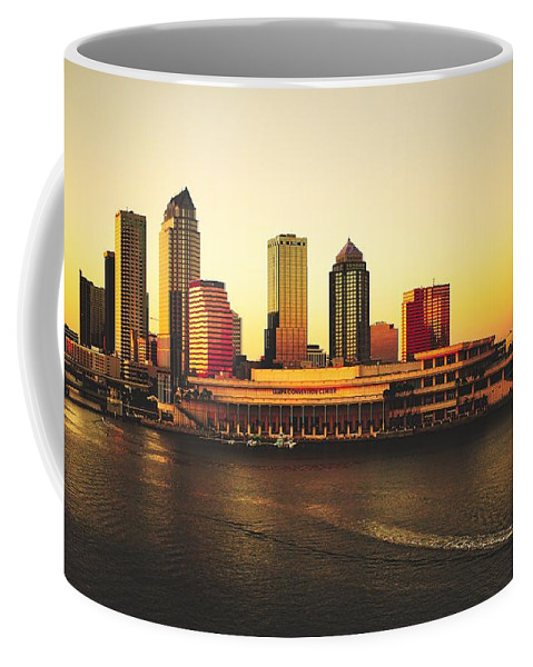 Tampa Coffee Mug featuring the photograph Tampa At Sunset by Pixabay