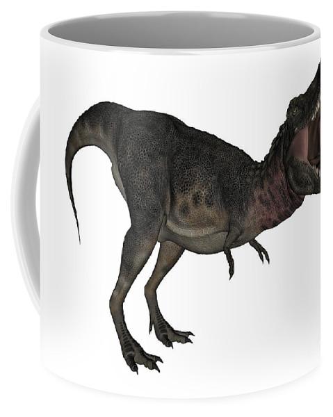 Dinosaur Coffee Mug featuring the digital art Tarbosaurus Dinosaur Roaring, White by Elena Duvernay