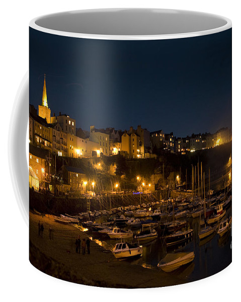 Tenby Coffee Mug featuring the photograph Tenby By Night by Angel Tarantella