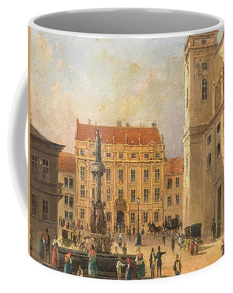 The Austria Fountain On The Freyung In Vienna With Rich Figural Coffee Mug featuring the painting The Austria Fountain On The Freyung In Vienna With Rich Figural by MotionAge Designs
