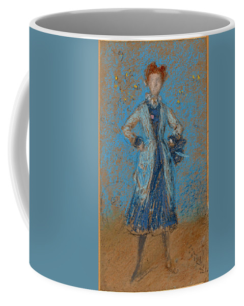 James Abbott Mcneill Whistler Coffee Mug featuring the drawing The Blue Girl by James Abbott McNeill Whistler