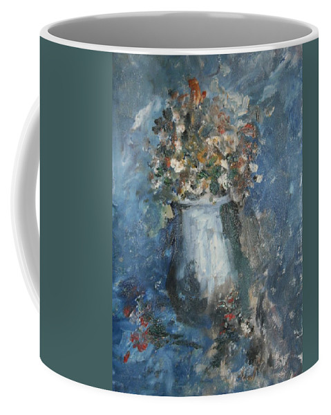 Still Life Coffee Mug featuring the painting The Blue Vase by Edward Wolverton