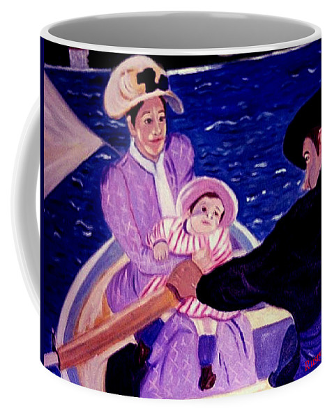 Pastiche Coffee Mug featuring the painting The Boat Trip by Rusty Gladdish