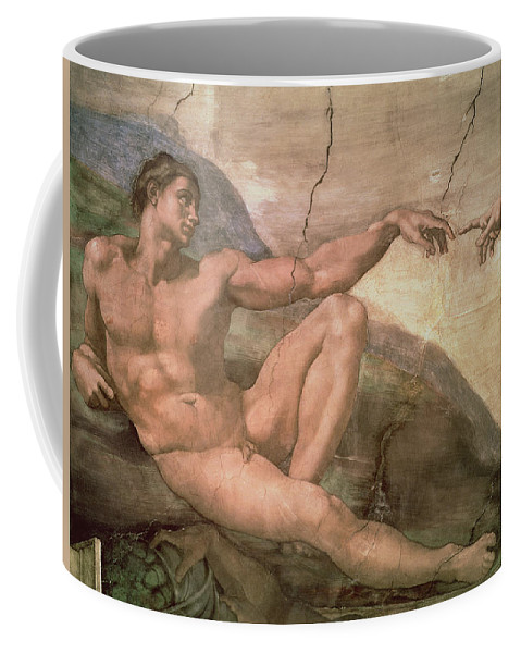 The Coffee Mug featuring the painting The Creation Of Adam by Michelangelo Buonarroti