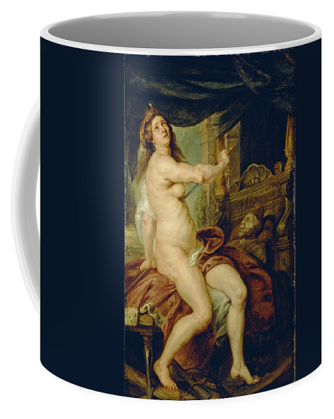 Peter Paul Rubens Coffee Mug featuring the painting Panthea Stabbing Herself With A Dagger After The Death Of Her Husband Abradates by Peter Paul Rubens