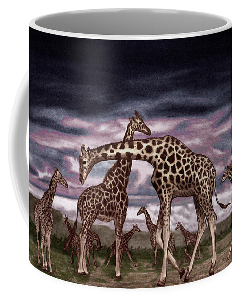 The Herd Coffee Mug featuring the drawing The Herd by Peter Piatt