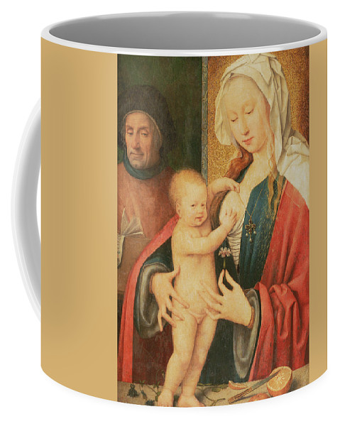 Virgin And Child Coffee Mug featuring the painting The Holy Family by Joos van Cleve