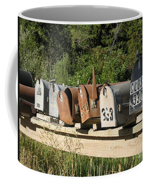 Mail Boxes Coffee Mug featuring the photograph The Long Wait by Diane Greco-Lesser