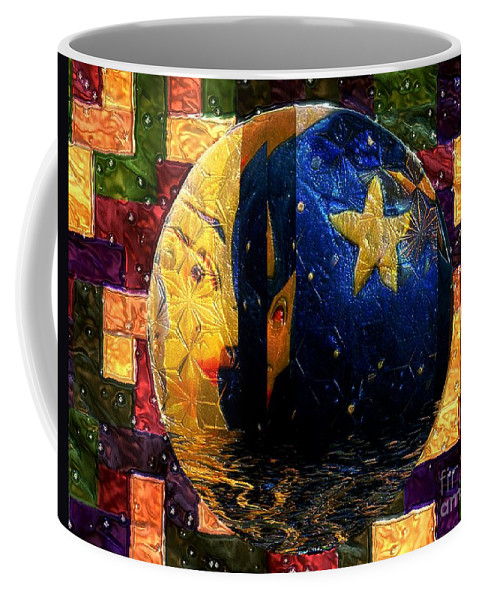 Moon Coffee Mug featuring the painting The Moon Has A Bath by RC DeWinter