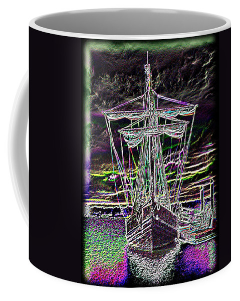 Wooden Boat Coffee Mug featuring the digital art The Nina by Tim Allen