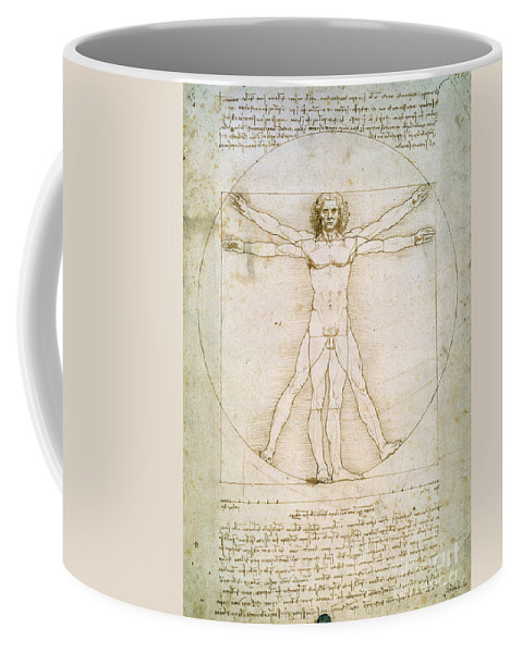 The Coffee Mug featuring the drawing The Proportions Of The Human Figure by Leonardo da Vinci