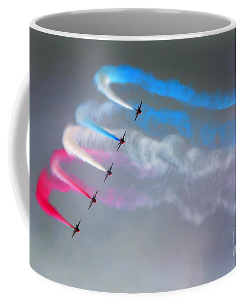 Red Arrows Coffee Mug featuring the photograph The Rainbow Makers by Angel Tarantella