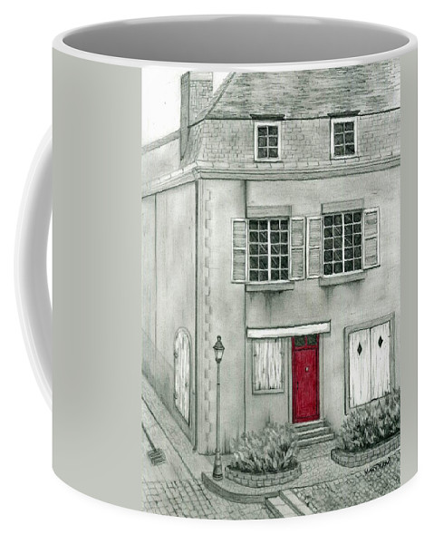 France Coffee Mug featuring the drawing The Red French Door by Mary Tuomi