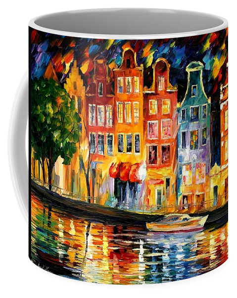 Afremov Coffee Mug featuring the painting The Sky Of Amsterdam by Leonid Afremov