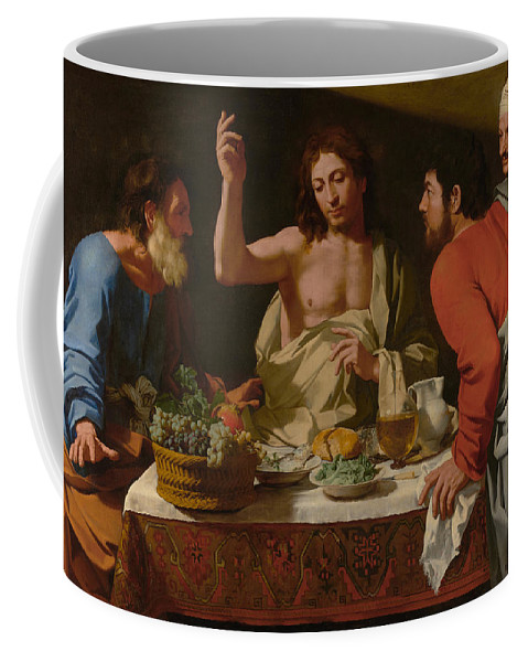 Bartolomeo Coffee Mug featuring the painting The Supper At Emmaus by Bartolomeo Cavarozzi