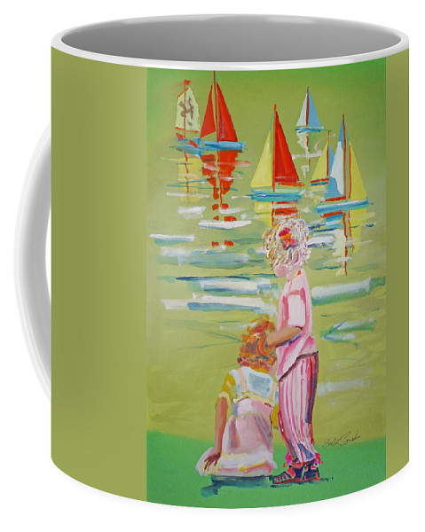 Yachts Coffee Mug featuring the mixed media The Toy Regatta by Charles Stuart