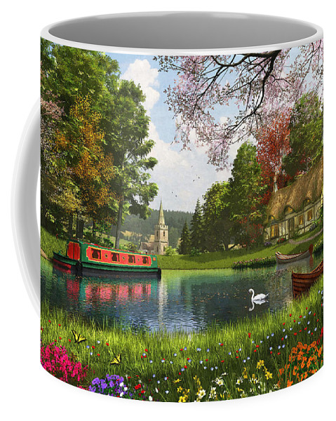 Cottage Coffee Mug featuring the digital art The Valley Cottage Variant 1 by Dominic Davison
