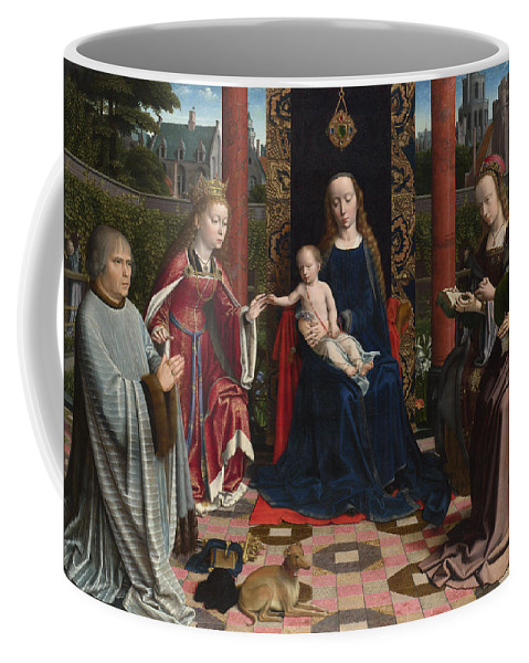 Gerard David Coffee Mug featuring the painting The Virgin And Child With Saints And Donor by Gerard David