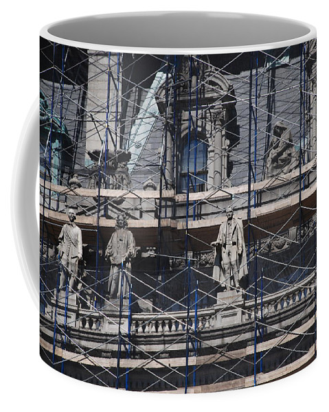 Street Scene Coffee Mug featuring the photograph The Wiseguys by Rob Hans