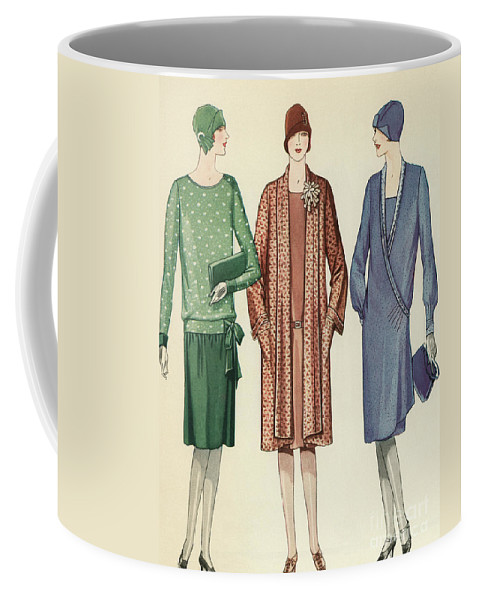 Flapper Coffee Mug featuring the painting Three Flappers Modelling French Designer Outfits, 1928 by American School