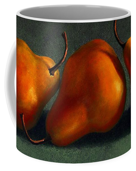 Still Life Coffee Mug featuring the painting Three Golden Pears by Frank Wilson