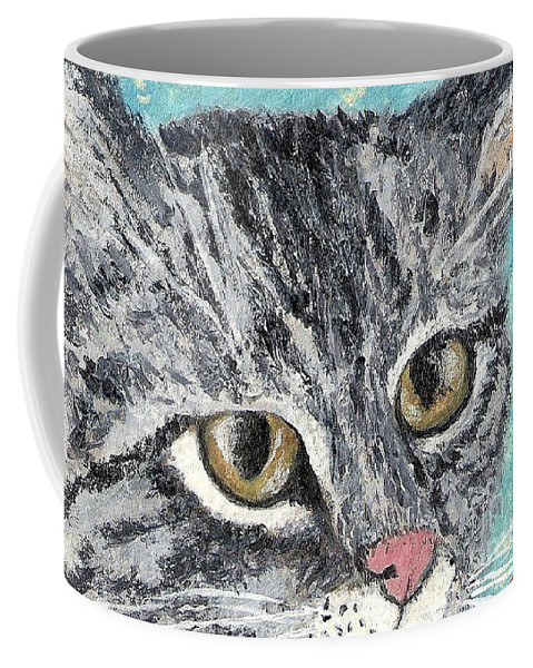 Cats Coffee Mug featuring the painting Tiger Cat by Reina Resto