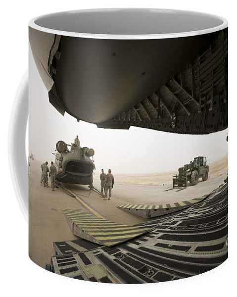 Aviation Coffee Mug featuring the photograph Tikrit, Iraq - A Ch-47 Chinook by Terry Moore