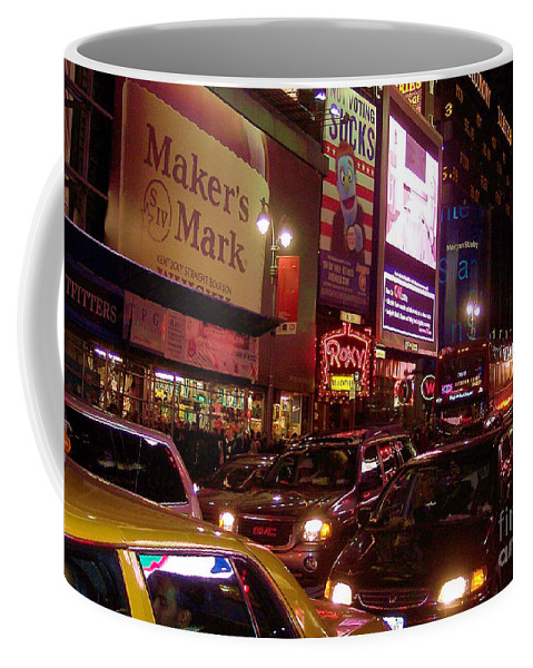 New York Coffee Mug featuring the photograph Times Square Night by Debbi Granruth