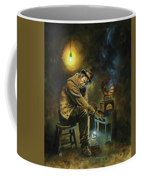Tom Waits Coffee Mug featuring the painting Tom Waits by Ken Meyer jr