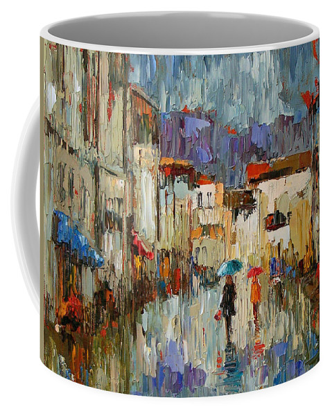 Impressionist Coffee Mug featuring the painting Tourists by Debra Hurd
