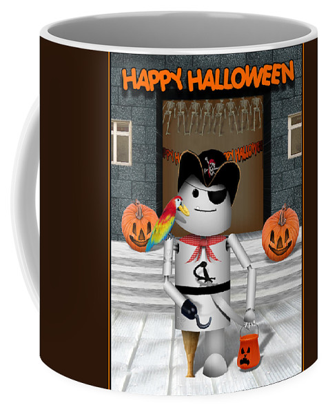 Halloween Coffee Mug featuring the mixed media Trick Or Treat Time For Robo-x9 by Gravityx Designs