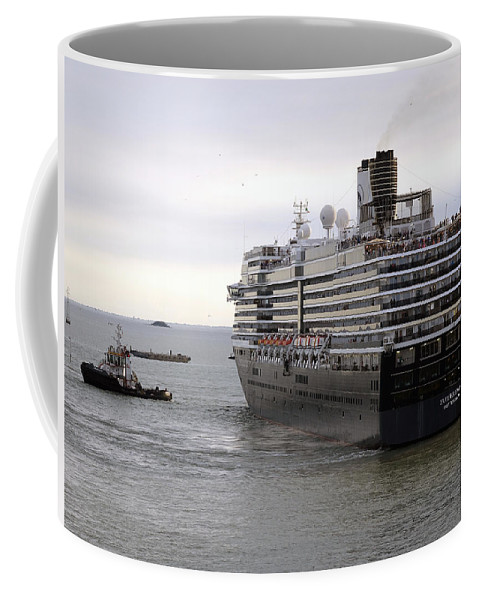 Tugboat Coffee Mug featuring the photograph Tugboat Assisting Big Cruise Liner In Venice Italy by Richard Rosenshein