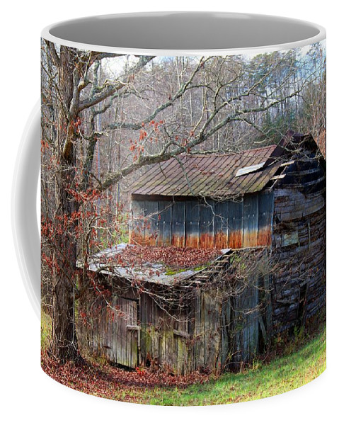 Barn Coffee Mug featuring the photograph Tumbledown Barn by Kathryn Meyer