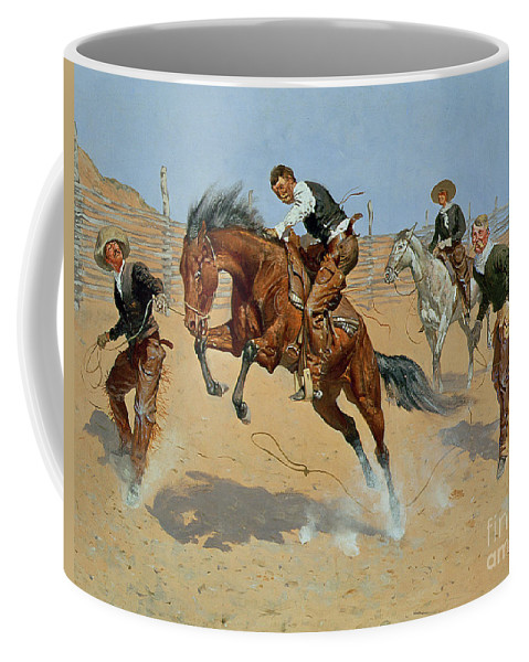 Turn Him Loose Coffee Mug featuring the painting Turn Him Loose by Frederic Remington