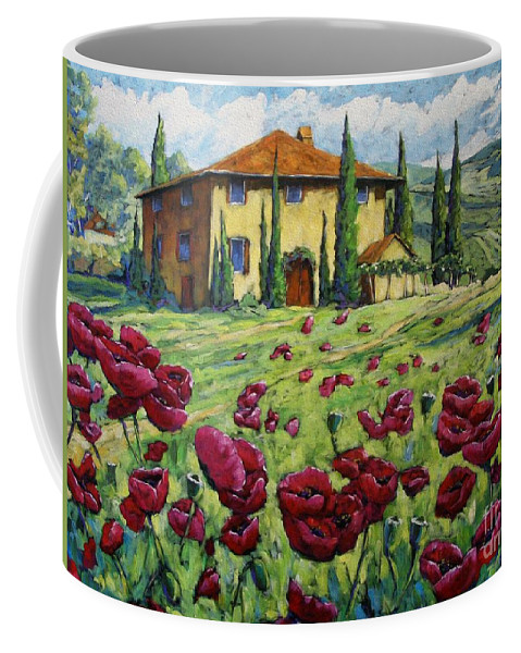 Art Coffee Mug featuring the painting Tuscan Poppies by Richard T Pranke
