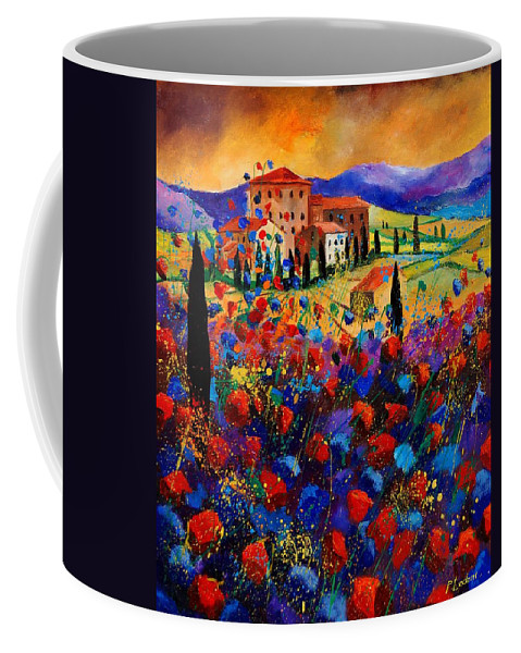 Flowers Coffee Mug featuring the painting Tuscany poppies by Pol Ledent