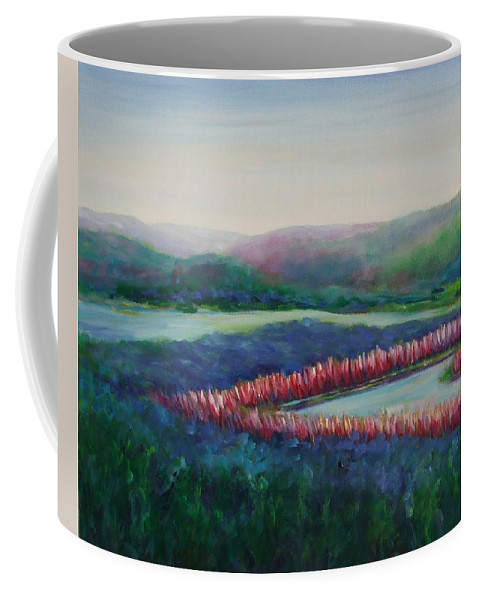 Landscape Coffee Mug featuring the painting Tweet Stream by Shannon Grissom