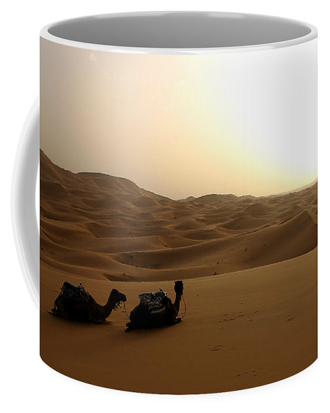 Camel Coffee Mug featuring the photograph Two Camels At Sunset In The Desert by Ralph A Ledergerber-Photography