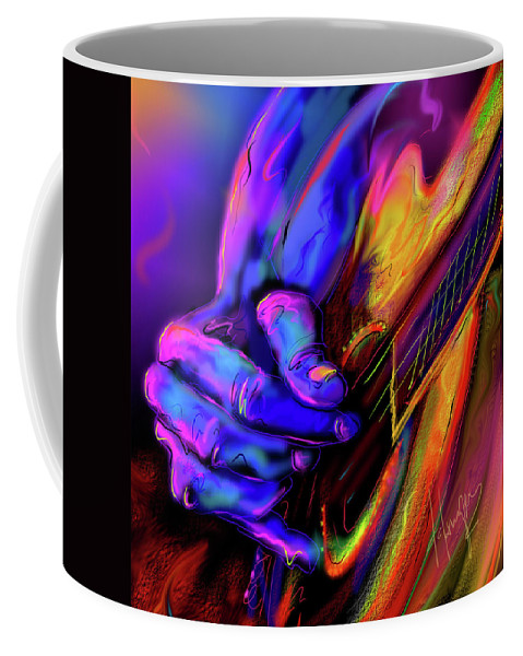 Guitar Coffee Mug featuring the painting Unplugged by DC Langer