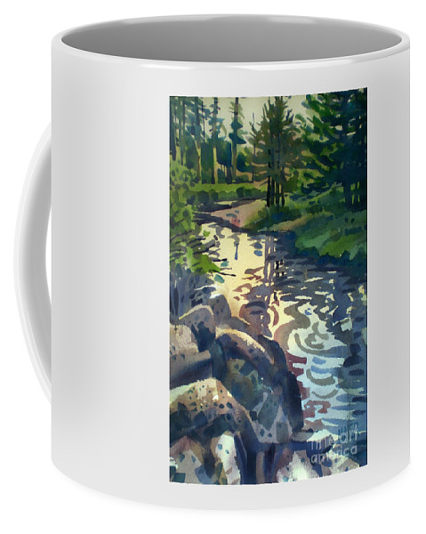 Stream Coffee Mug featuring the painting Up With The Fishes by Donald Maier