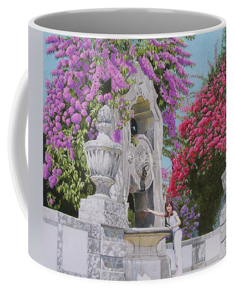 Landscape Coffee Mug featuring the mixed media Vacation In Portugal by Constance Drescher