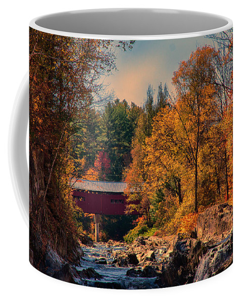 #jefffolger Coffee Mug featuring the photograph Vermont Covered Bridge Over The Dog River by Jeff Folger