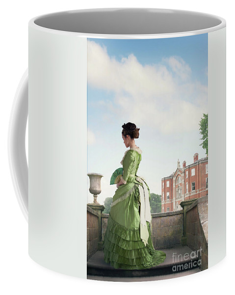 Victorian Coffee Mug featuring the photograph Victorian Woman In A Green Dress by Lee Avison