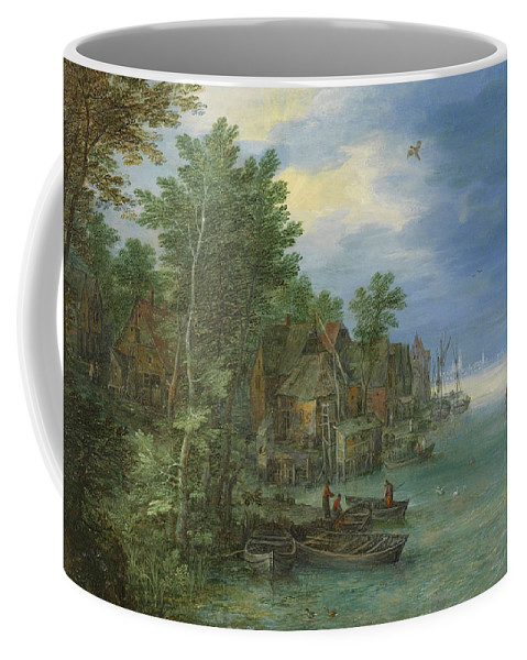 Baroque Coffee Mug featuring the painting View Of A Village Along A River by Jan Brueghel the Elder