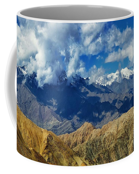 Ice Peak Coffee Mug featuring the photograph View Of Snow Peaks Leh Ladakh Jammu And Kashmir India by Rudra Narayan Mitra