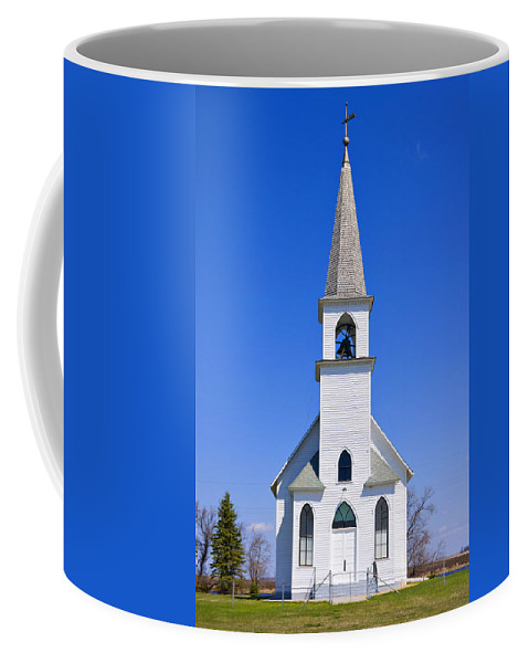 Church Coffee Mug featuring the photograph Vintage White Church With Bell by Donald Erickson